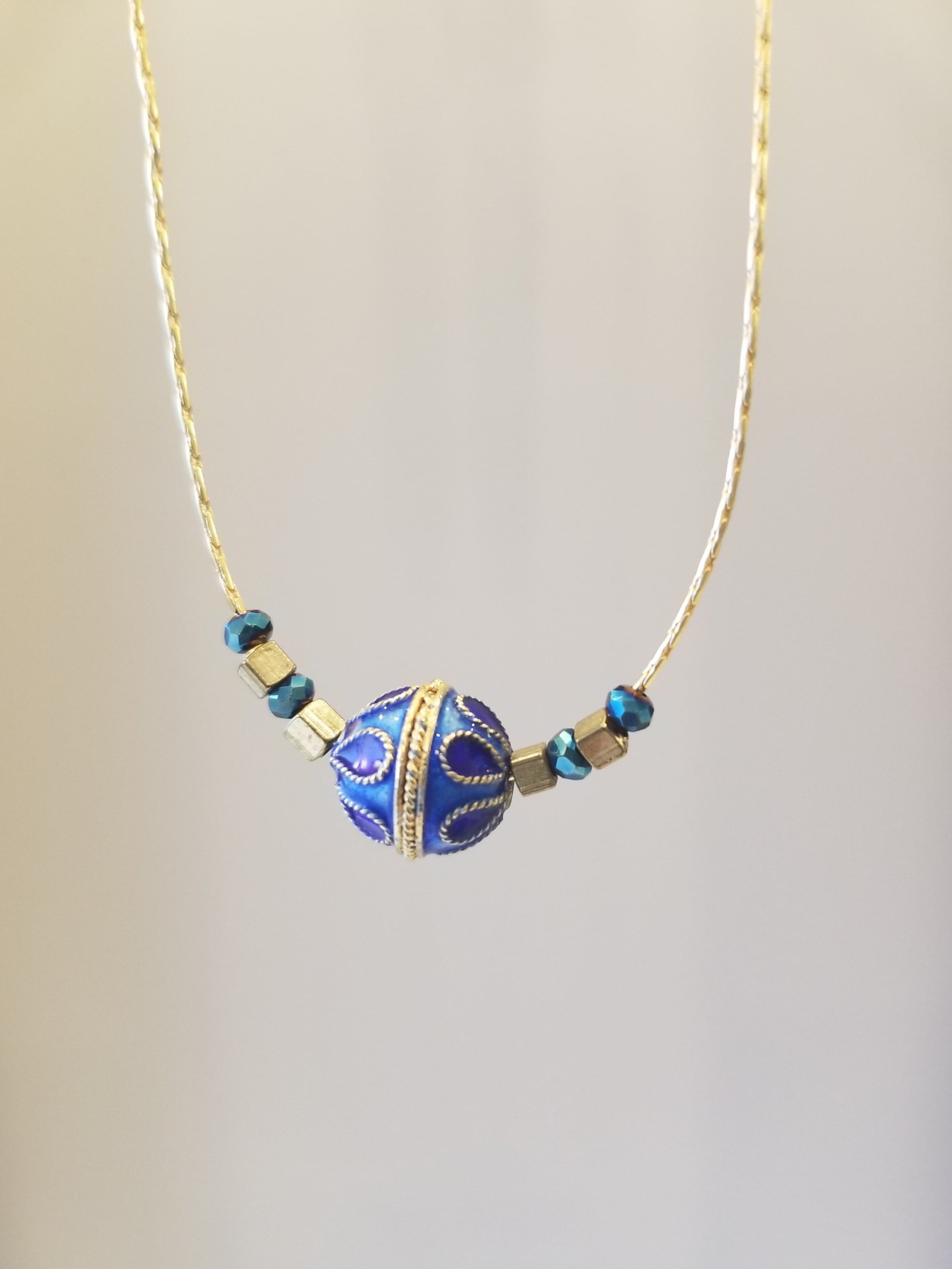 Blue and Gold enamel pendant